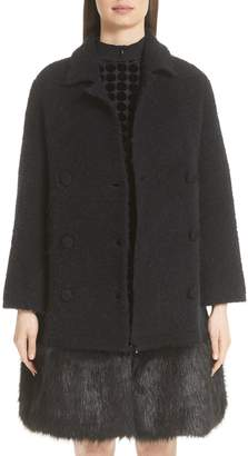 Emporio Armani Boucle Coat with Removable Faux Fur Hem