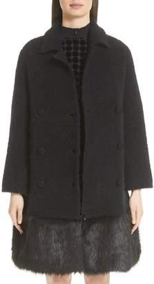 Emporio Armani Boucle Coat with Removable Faux Fur Hem