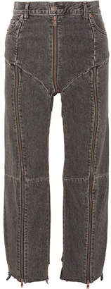 Vetements - Levi's Distressed Zip-detailed High-rise Straight-leg Jeans - Charcoal $1,715 thestylecure.com