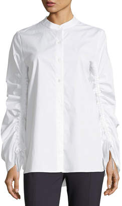 Vince Camuto Ruched-Sleeve Button-Front Shirt