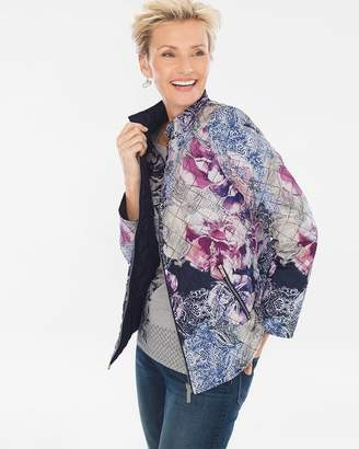 Of the Moment Zenergy Reversible Mixed Floral-Solid Puffer Jacket