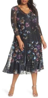 Komarov Lace Trim Floral Midi Dress