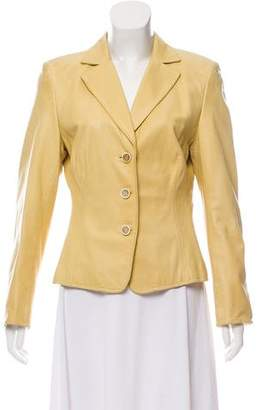Akris Leather Notch-Lapel Blazer