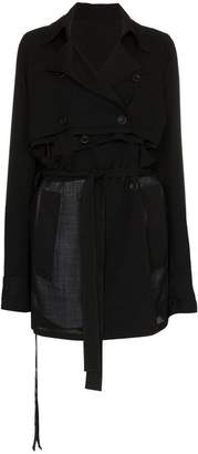 Unravel Project deconstructed cotton virgin wool-blend trench coat
