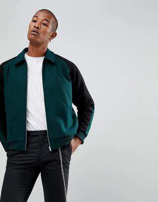 Asos Design DESIGN varsity jacket in bottle green