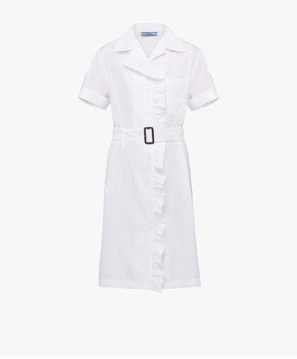 Prada Prada Cotton Chemisier Dress With Ruching