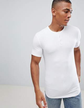 Asos DESIGN muscle fit t-shirt with grandad neck in white