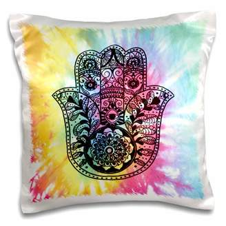 3dRose Tie Dye Hamsa - Pillow Case, 16 by 16-inch