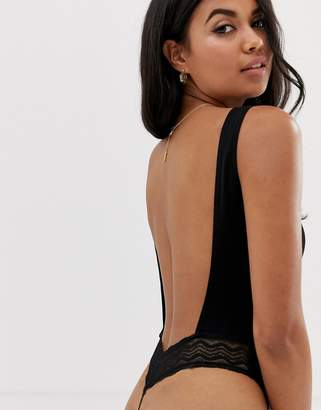 Asos DESIGN rib and lace thong back bodysuit
