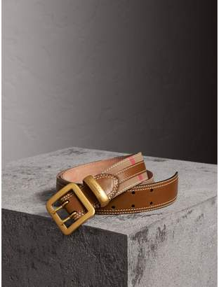 Burberry Topstitched House Check and Leather Belt , Size: 95, Brown