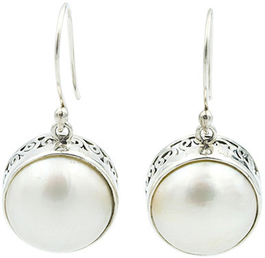 Exex Design Jewelry Sterling Silver Chile 12mm Mabe Pearl Earrings