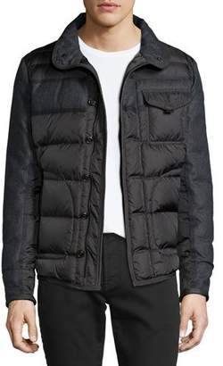 Moncler Blais Mixed-Media Puffer Jacket, Charcoal $1,185 thestylecure.com