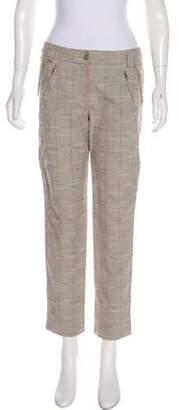 Cacharel Mid-Rise Plaid Pants Grey Mid-Rise Plaid Pants