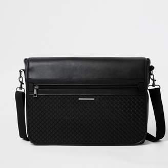 River Island Mens Black embossed satchel bag