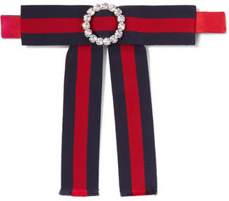 Gucci Crystal-embellished Striped Grosgrain And Silk-satin Pussy-bow Collar - Red