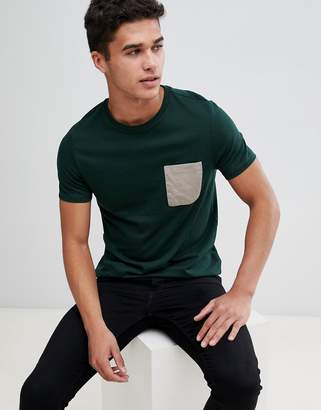 Asos DESIGN t-shirt with contrast pocket in khaki