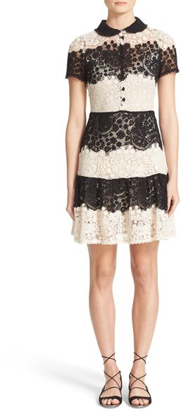 RED ValentinoWomen's Red Valentino Macrame Lace Fit & Flare Dress