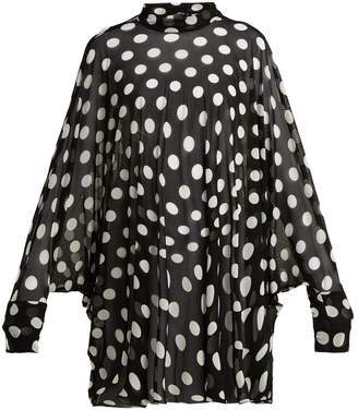 Norma Kamali Polka-dot batwing-sleeve cover-up