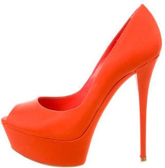Casadei Satin Peep-Toe Pumps $145 thestylecure.com