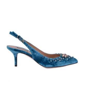 Dolce & Gabbana Blue Velvet Heels