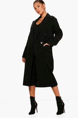 boohoo Long Line Double Breasted Wool Look Coat