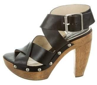 Vera Wang Leather Platform Sandals
