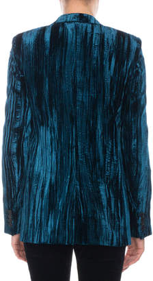 Saint Laurent Crinkled-Velvet One-Button Blazer
