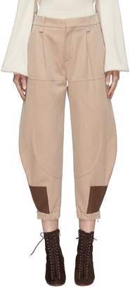 Chloé Leather patch virgin wool-cotton knit riding pants