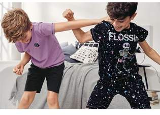 Next Boys Black/Purple Flossin Skeleton Pyjamas Two Pack (3-16yrs)