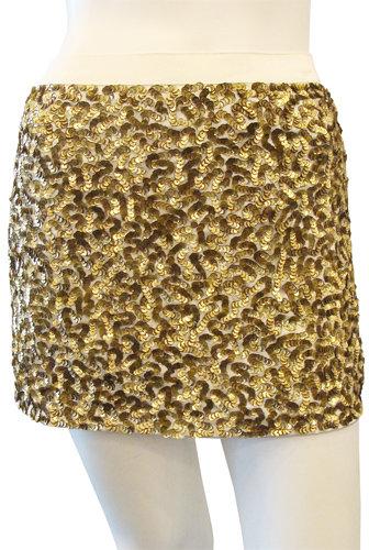 Alice + Olivia Sequin Miniskirt In Gold