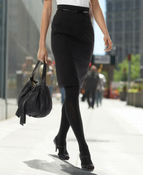 DKNYC Belted Pencil Skirt with Pockets