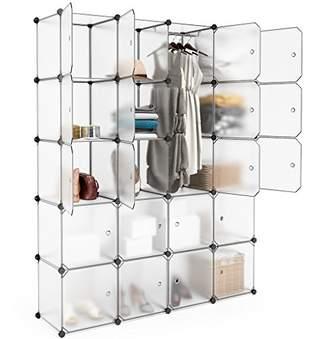 LANGRIA 20 Cubby Shelving Closet System Cube Organizer Plastic Storage Cubes Drawer Unit