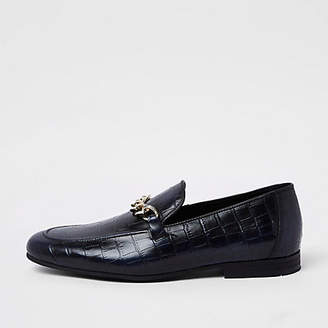 River Island Navy high shine leather croc embossed loafers