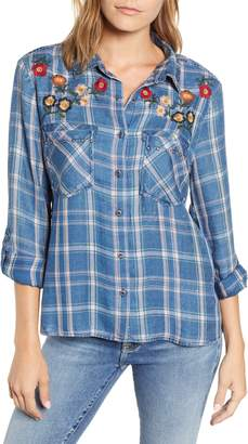 BILLY T Embroidered Plaid Roll Tab Shirt