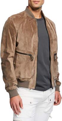 Belstaff Men's Driftwood Winswell Oiled-Suede Bomber Jacket