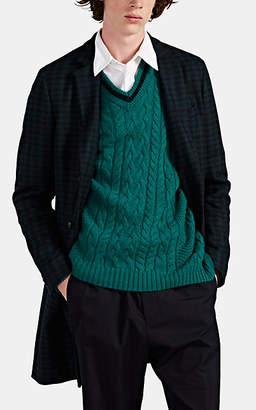 Paul Smith Men's Plaid Wool-Blend Melton Overcoat - Navy