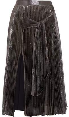 Christopher Kane Pleated Silk-Blend Lamé Midi Skirt