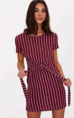 PrettyLittleThing Burgundy Stripe Tie Waist T Shirt Dress