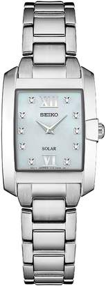 Seiko Women's Stainless Rectangular Solar Bracelet Watch