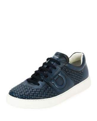 Salvatore Ferragamo Men's Woven Leather Low-Top Sneakers, Sunset Blue (Indigo)