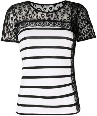 Liu Jo striped sheer panel T-shirt