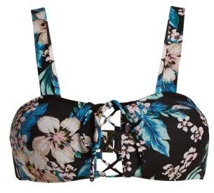 Diane von Furstenberg Cheeky Lace Up Bikini Top - Womens - Black Print