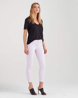 7 For All Mankind Ankle Skinny with Released Hem in Pale Lavender