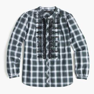 J.Crew Embellished button-up shirt in forest tartan