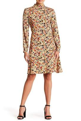 Chelsea & Theodore Mock Neck Floral Print Dress