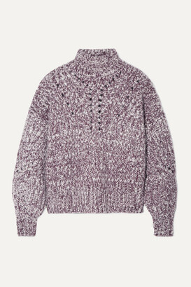 Isabel Marant Jarren Melange Alpaca-blend Turtleneck Sweater - Grape