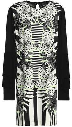 Just Cavalli Pleated Paneled Printed Crepe Mini Dress