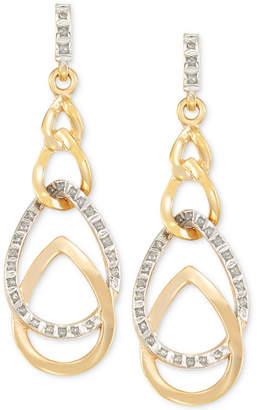 Signature Diamonds Interlocked Teardrop Drop Earrings in 14k Gold over Resin Core Diamond and Crystallized Diamond Dust