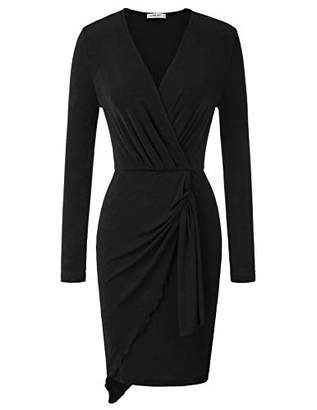Liumilac Women Sexy V Neck Long Sleeve Cocktail Party Sheath Dresses Black LAE01-1 XL