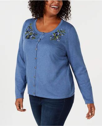 Karen Scott Plus Size Flower-Embroidered Cardigan Sweater.